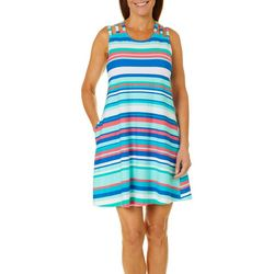 Coral Bay Womens Striped Strappy Leisure Dress