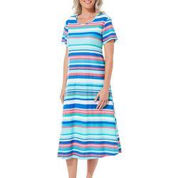 Coral Bay Womens Stripe Print Long Leisure Dress