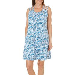 Coral Bay Womens Palm Leaf Strappy Leisure Dress