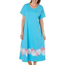 Coral Bay Womens Palm Leaf Hem Leisure Dress
