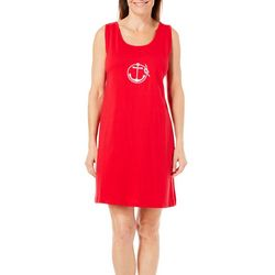 Coral Bay Womens Anchor Embroidered Leisure Dress