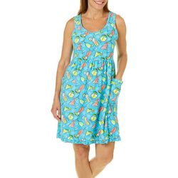 Rene Rofe Womens Margarita Summer Terry Lounge Dress