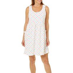 Rene Rofe Womens Polka Dot Terry Lounge Dress
