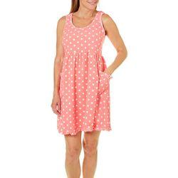 Rene Rofe Womens Dot Print Terry Lounge Dress