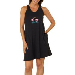 Coral Bay Womens Kissing Flamingos Embroidered Leisure Dress