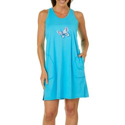 Coral Bay Womens Butterfly  Embroidered Leisure Dress