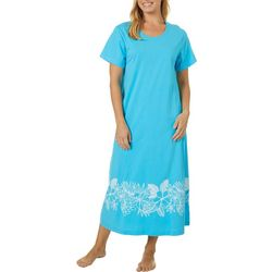 Coral Bay Womens Long Tropical Boarder Print Leisure Dress