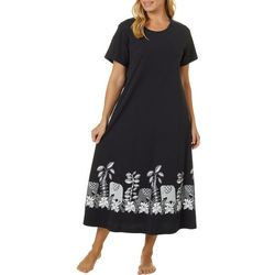 Coral Bay Womens Long Elephant Boarder Print Leisure Dress