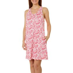 Coral Bay Womens Butterfly Palm Leisure Dress