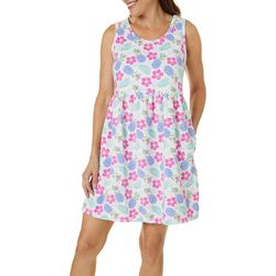 Coral Bay Womens Pineapple Print Sleeveless Leisure Dress