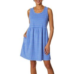 Coral Bay Womens Stripe Print Sleeveless Leisure Dress