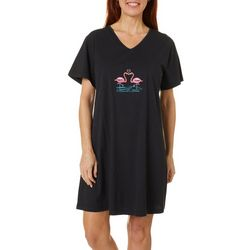 Coral Bay Womens Flamingo Love Short Sleeve Leisure Dress