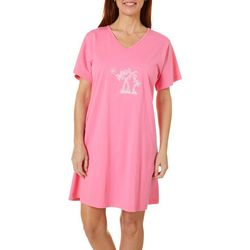 Coral Bay Womens Palm Tree Short Sleeve Leisure Dress