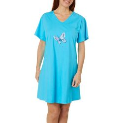 Coral Bay Womens Butterfly Short Sleeve Leisure Dress