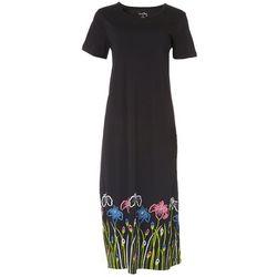 Womens Floral Short Sleeve T-Shirt Dress