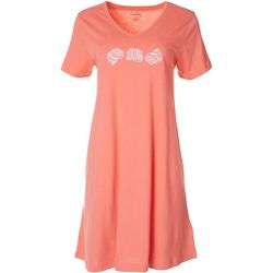 Coral Bay Womens Seashells Embroidered Nightgown