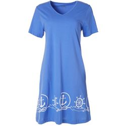 Coral Bay Womens Nautical T-Shirt Dress