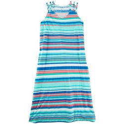 Coral Bay Womens Striped 3-Strap Tank Leisure  Dress