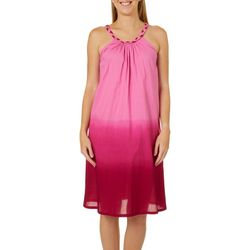 Coral Bay Womens Ombre Braided High Neck Leisure Dress
