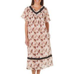 Coral Bay Womens Palm Print Gauze V-Neck Leisure Dress