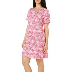 Coral Bay Womens Palm Print Leisure Dress