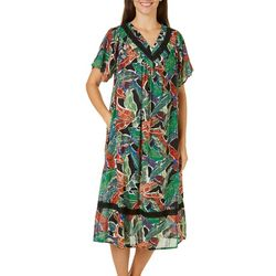 Coral Bay Womens Gauze Tropical Leaves V-Neck Leisure Dress