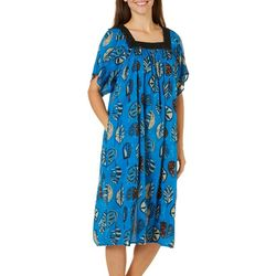 Coral Bay Womens Feather Sketch Gauze Leisure Dress