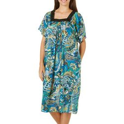 Coral Bay Womens Paisley Gauze Leisure Dress
