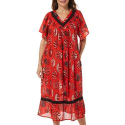 Coral Bay Womens Tropical Leaves Gauze V-Neck Leisure Dress