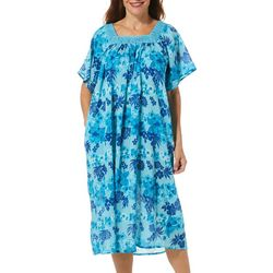 Coral Bay Womens Floral Hibiscus Print Gauze Leisure Dress