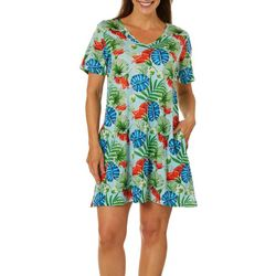 Coral Bay Womens Tropical Print Short Sleeve Leisure Dress