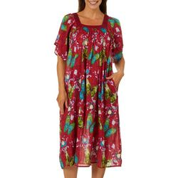 Coral Bay Womens Butterfly Gauze Leisure Dress