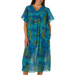 Coral Bay Womens Gauze Vine Prnt  V-Neck Leisure Dress