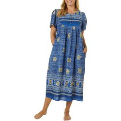 Coral Bay Womens Bib Neck Tribal Print Leisure Dress