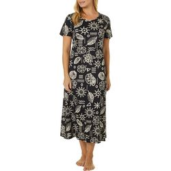 Coral Bay Loungees Womens Beaded Batik Leisure Dress