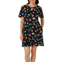 Coral Bay Womens Tulip Keyhole Short Sleeve Leisure Dress