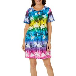Coral Bay Womens Rainbow Palms Keyhole Leisure Dress