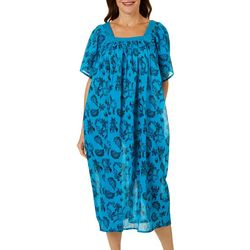 Coral Bay Womens Printed Gauze Leisure Dress