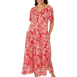 Coral Bay Womens Long Tropical Leaf Leisure Dress