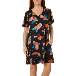 Coral Bay Womens Fish Print Short Sleeve Leisure Dress