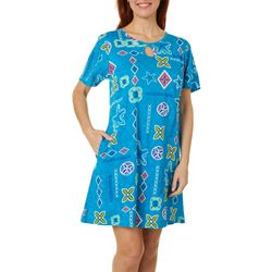Coral Bay Womens Starfish Keyhole Short Sleeve Leisure Dress