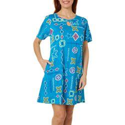 Plus Starfish Keyhole Short Sleeve Leisure Dress