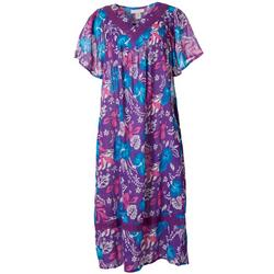 Womens  Floral Gauze Leisure Dress