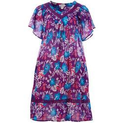 Plus Hibiscus Print Gauze Leisure Dress