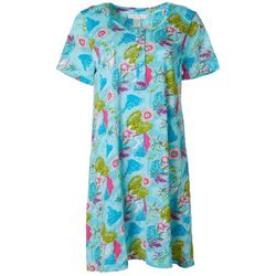 Coral Bay Womens Tropical Henley Short Sleeve Leisure Dress