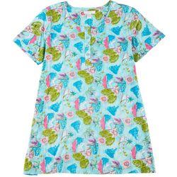 Plus Tropical Henley Short Sleeve Leisure Dress