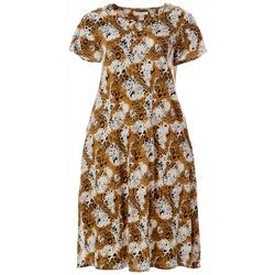 Plus  Animal Printed Shorts Sleeve Dress