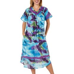 Coral Bay Womens Printed Gauze Maxi Leisure Dress
