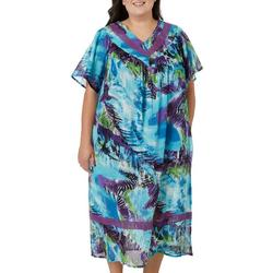 Plus Cool Mixed Print Gauze V-Neck Leisure Dress