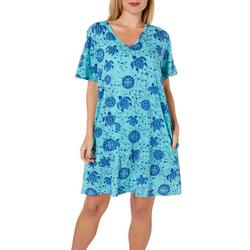 Womens Turtle Print Short Sleeve Leisure Dress